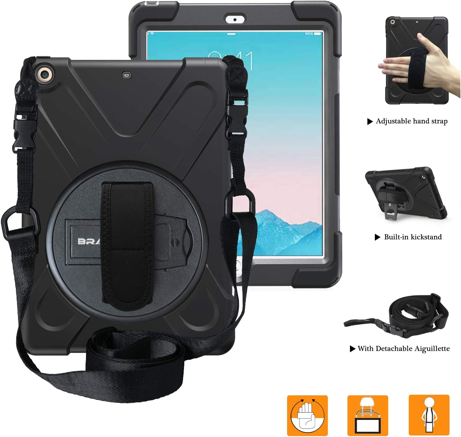 iPad Air 2 Case, iPad Air 2 Case for Kids, BRAECNstock[Heavy Duty]Full-body Rugged Hybrid Protective Case Built-in Stand/ Hand Strap/ Shoulder Strap For Apple iPad Air 2nd Generation A1566/A1567Black