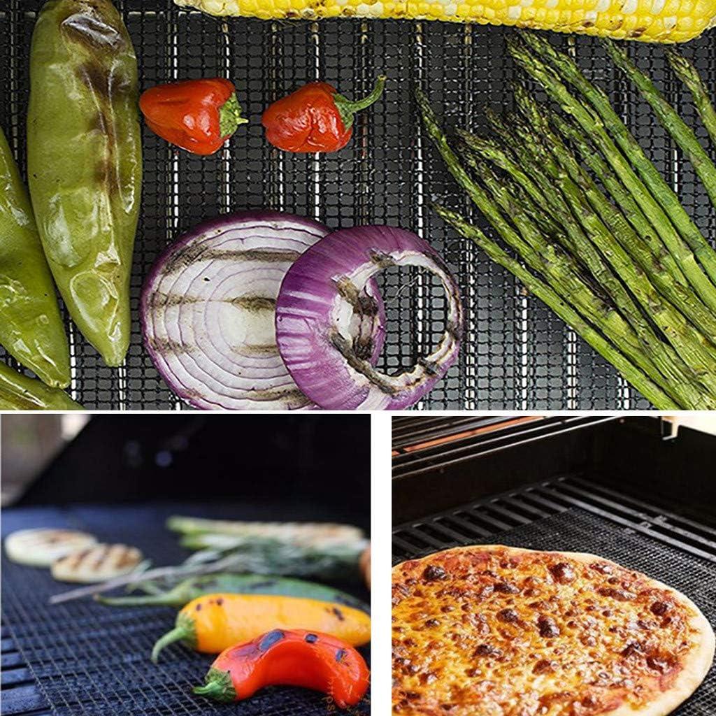 Schwarz SIRIGOGO Packung mit 5 Grillmatten BBQ Mesh Non Stick Cooking Liner Fisch Grillblech,BBQ Grill Matte Antihaft Mesh Net Barbecue Grill Backmatte,grillnetz,Grill pad,Grill matten