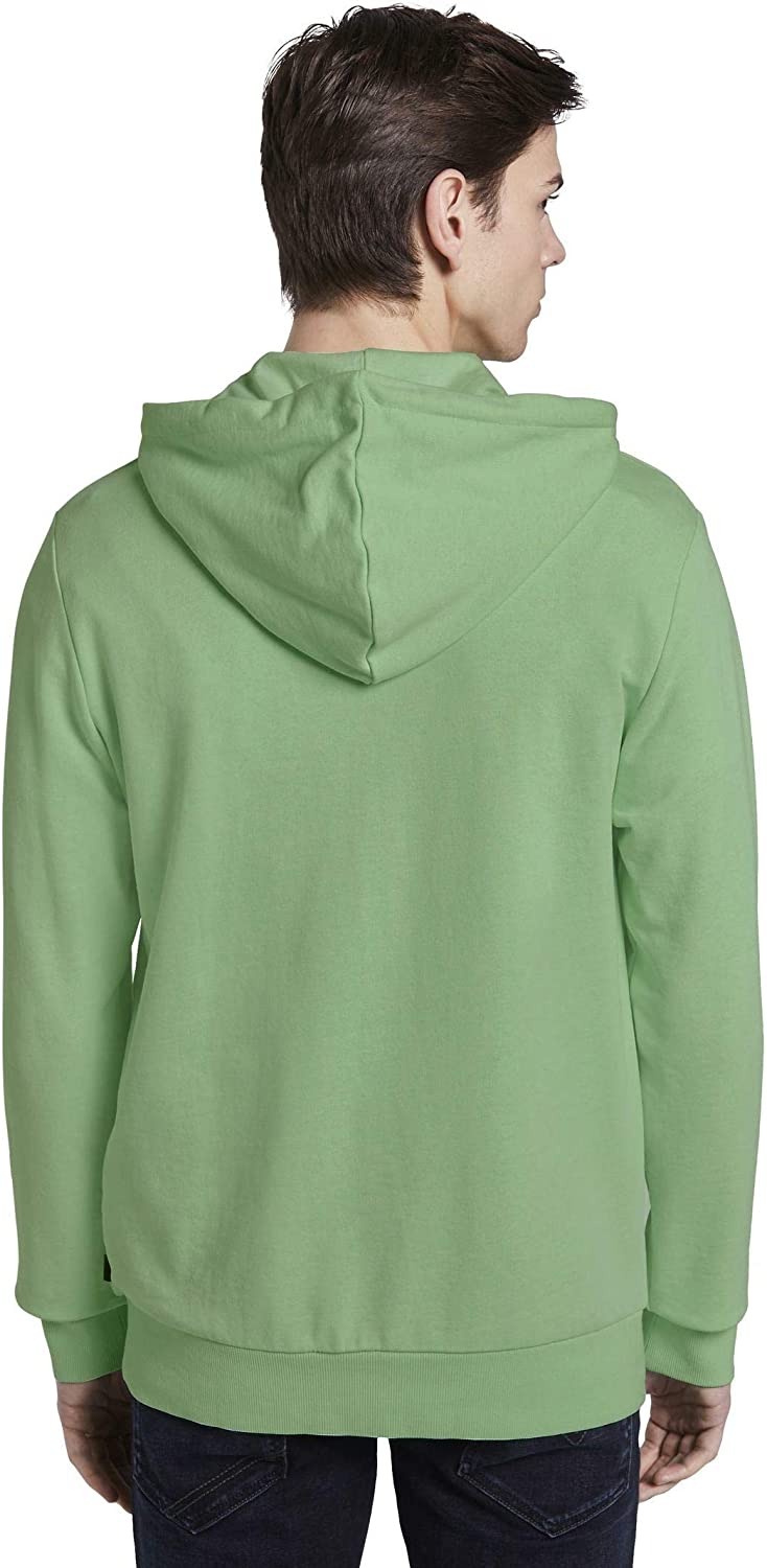 TOM TAILOR Denim Strick & Sweatshirts Hoodie mit Logo-Print Soft Neo Green