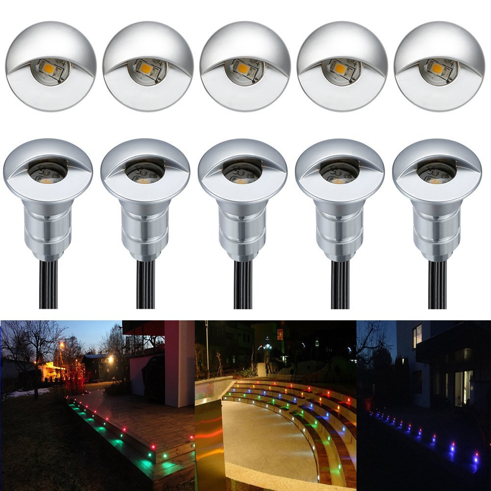FVTLED 10pcs Low Voltage LED Step Lights Kit Half Moon Aluminum Outdoor Wood Deck Lighting Yard Garden Patio Stair LED Light Decoration Lamps, RGB by FVTLED