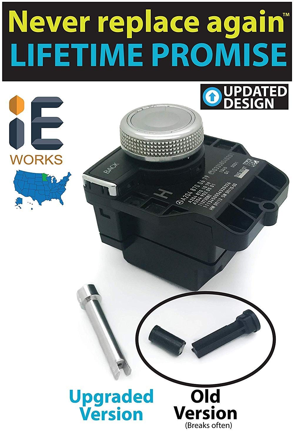 Mercedes-Benz COMAND Scrolling Issue Repair (Shaft Only) Replacement Shaft Fixes Console Controller Knob Radio GPS Navigation Multi-Switch Push-Button Assembly (2008-2017)