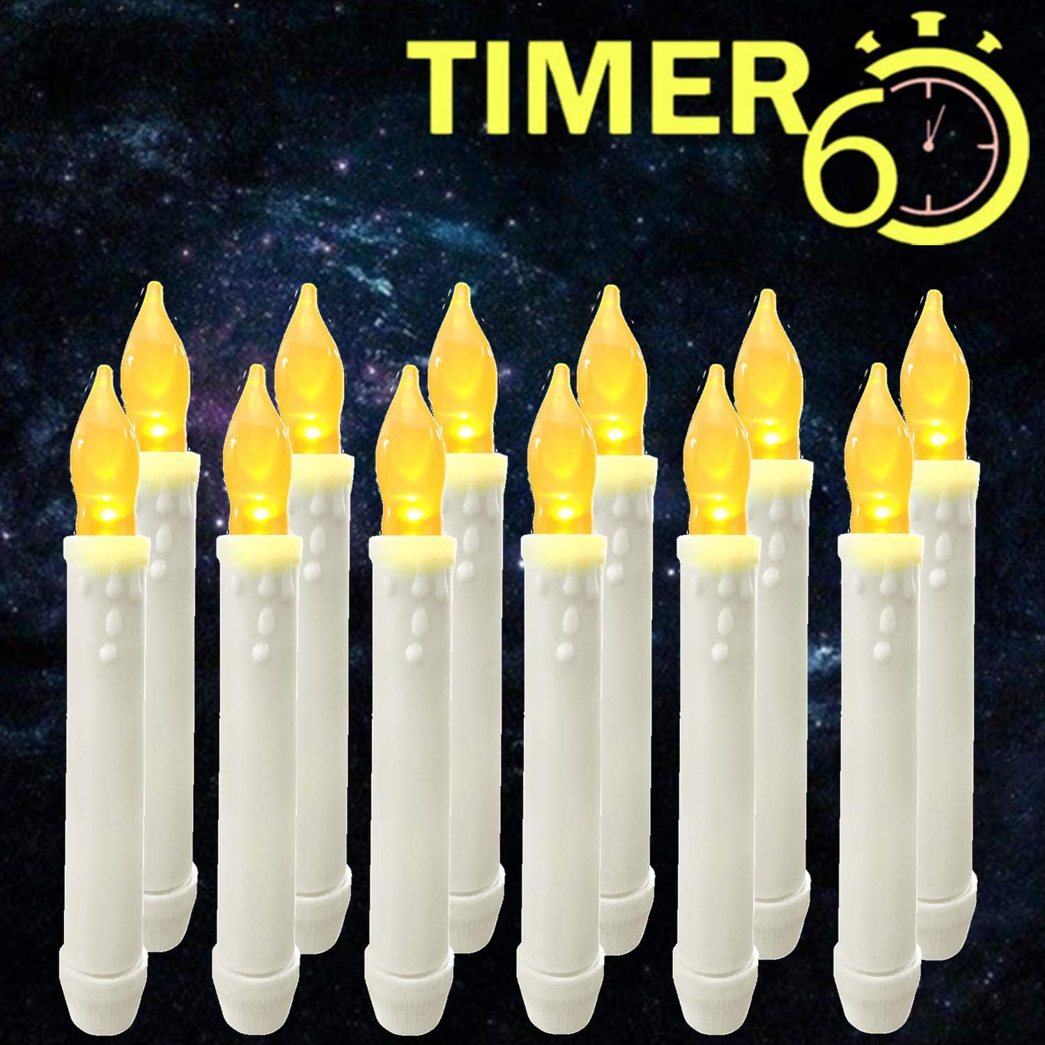 12 Pcs Battery Operated Led Flameless Floating Candles Lights With Timer For Party Decor,Window Candlesticks,Electric Fake Taper Candle For Halloween/Christmas/Thanksgiving/Birthday/Church Decorations