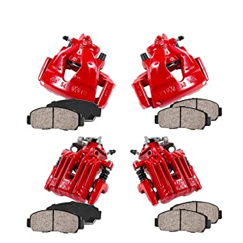 REAR 4 CCK01466 FRONT Performance Grade Loaded Powder Coated Red Calipers Ceramic Brake Pads Kit