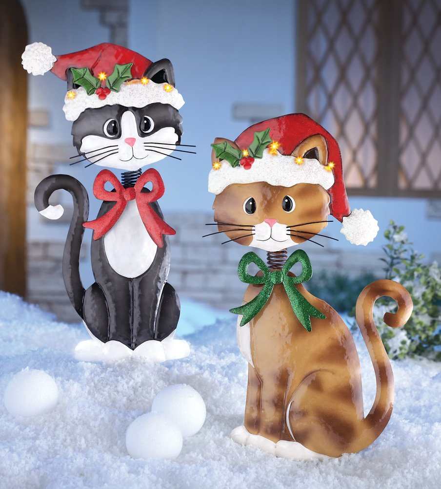 motion sensor pet christmas yard decoration cat set of 2 adorable metal christmas cats lighted santa hat brown tuxedo kitties holiday lawn yard - Cat Christmas Decorations