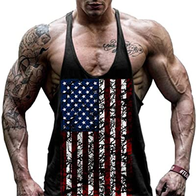 GITVIENAR Men's American Flag Pattern Gym Fitness Slim Compression Sleeveless Muscle Running Loose Sports Vest Tank Top Shirt
