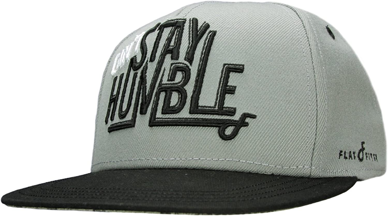 Flat Fitty Can/'t Stay Humble Snapback Cap Hat White and Gray