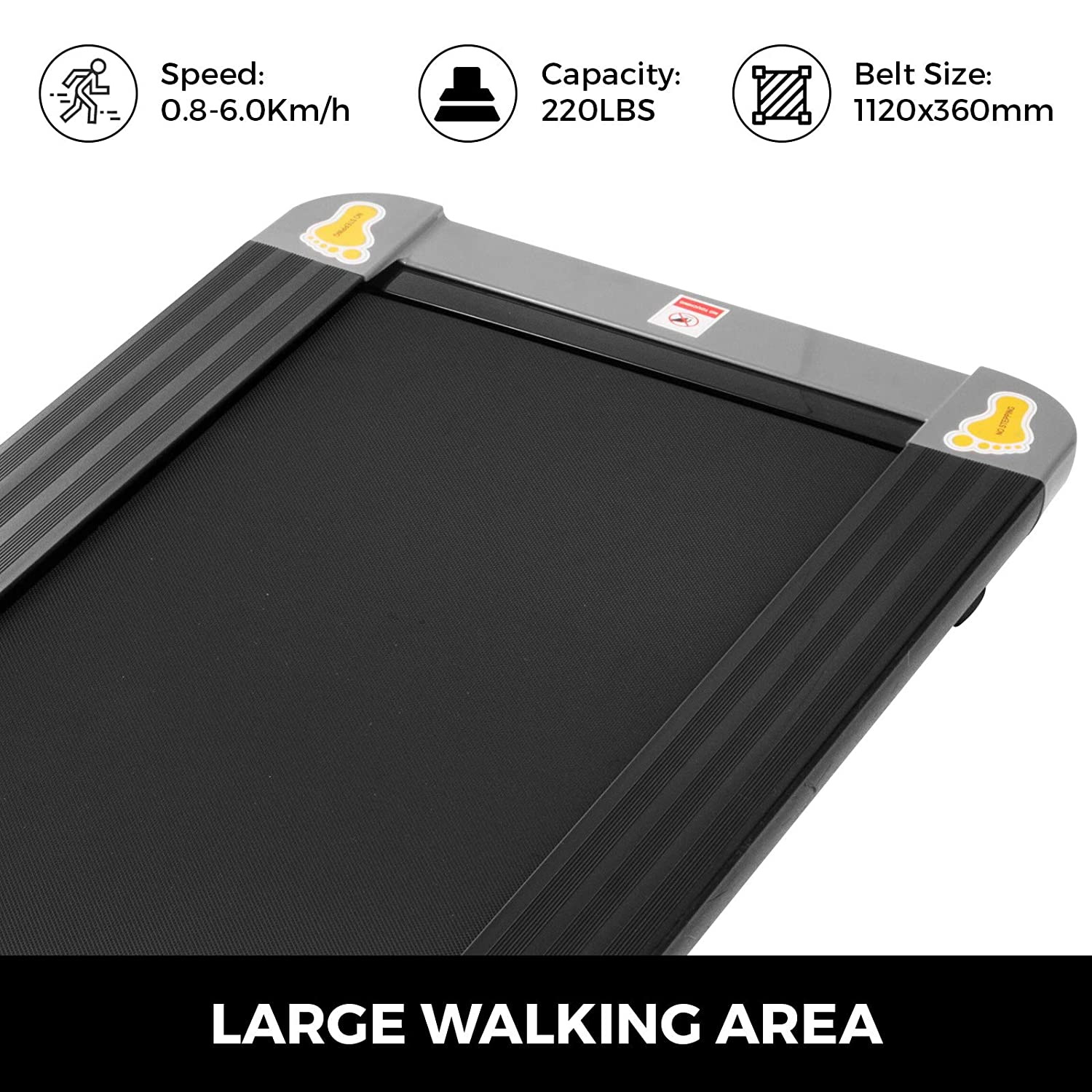 Popsport Under Desk Treadmill Digital Electric Portable Walking Pad Smart Slim Folding Fitness Jogging Training Cardio Workout for Home Office