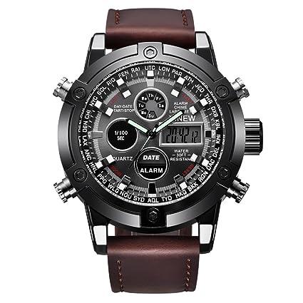Longra☆ Reloj Analógico Digital Quarz para Hombre de Lujo Dual Movt LED Sport Sport
