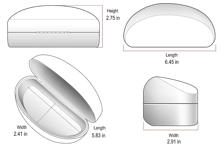 Edge I-Wear Large Hard Clamshell Sunglasses Case Women Eyewear Case Men B59 B59-FL34-BLK