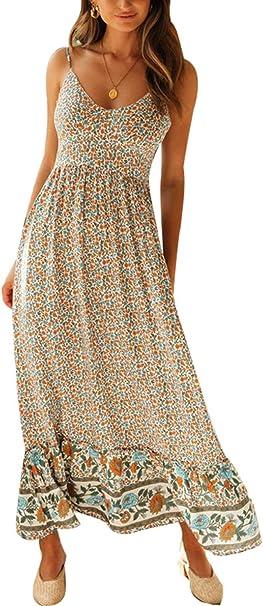 Zilcremo Damen Sommerkleider Böhmisch Kleid Halfter Ärmellos Blumenkleid  Strandkleid Lang Kleider MaxiKleid Cocktailkleid
