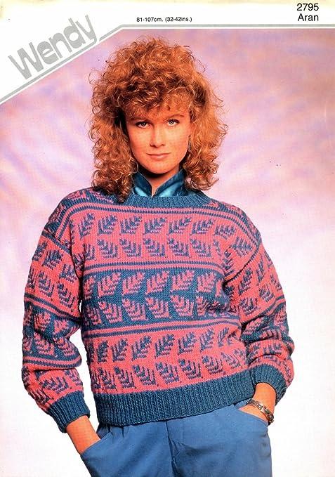 Knitting Pattern Lady S Aran Fairisle Leaf Motif Sweater 32 42