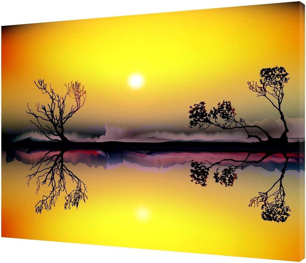SUNRISE LANDSCAPE //YELLOW PHOTO PRINT ON FRAMED CANVAS WALL ART 12x 8inch 38mm depth