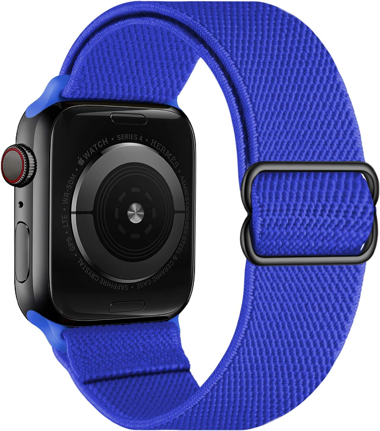 OXWALLEN Stretchy Nylon Solo Loop Compatible with Apple Watch Bands 42mm 44mm, Adjustable Elastic Braided Stretches Women Men Strap for iWatch SE Series 6/5/4/3/2/1,Royal Blue
