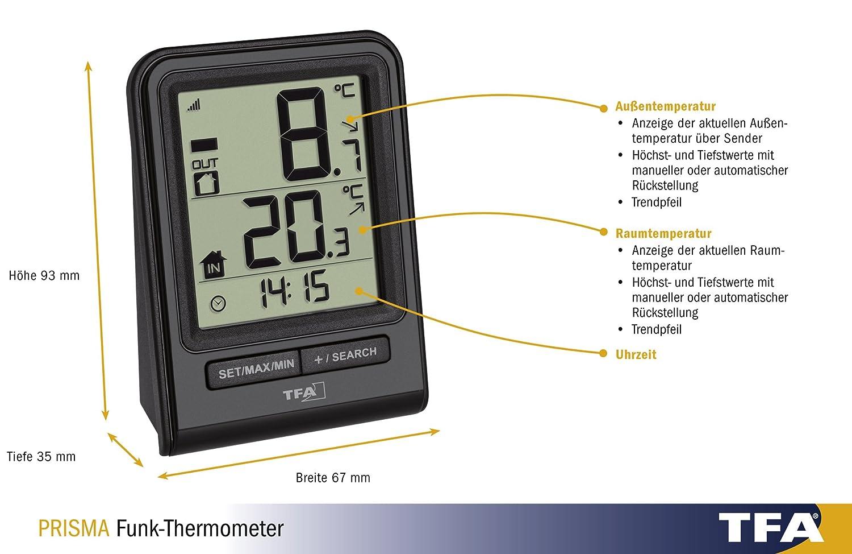 Blanco TFA Dostmann Term/ómetro inal/ámbrico de Prisma