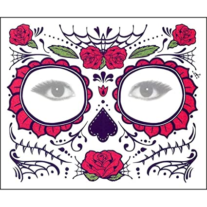 Amazoncom Yliquor Halloween 2pcs Dia De Los Muertos Face Mask