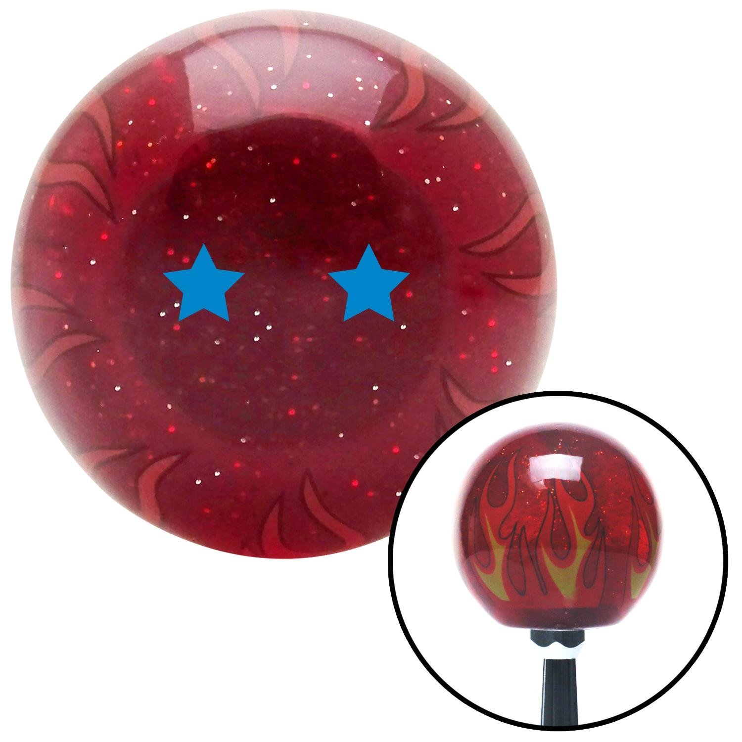 American Shifter 243675 Red Flame Metal Flake Shift Knob with M16 x 1.5 Insert Blue Dragon Ball Z - 2 Star