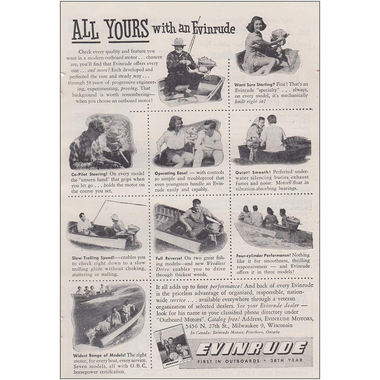 Amazon com: RelicPaper 1947 Evinrude: All Yours with an