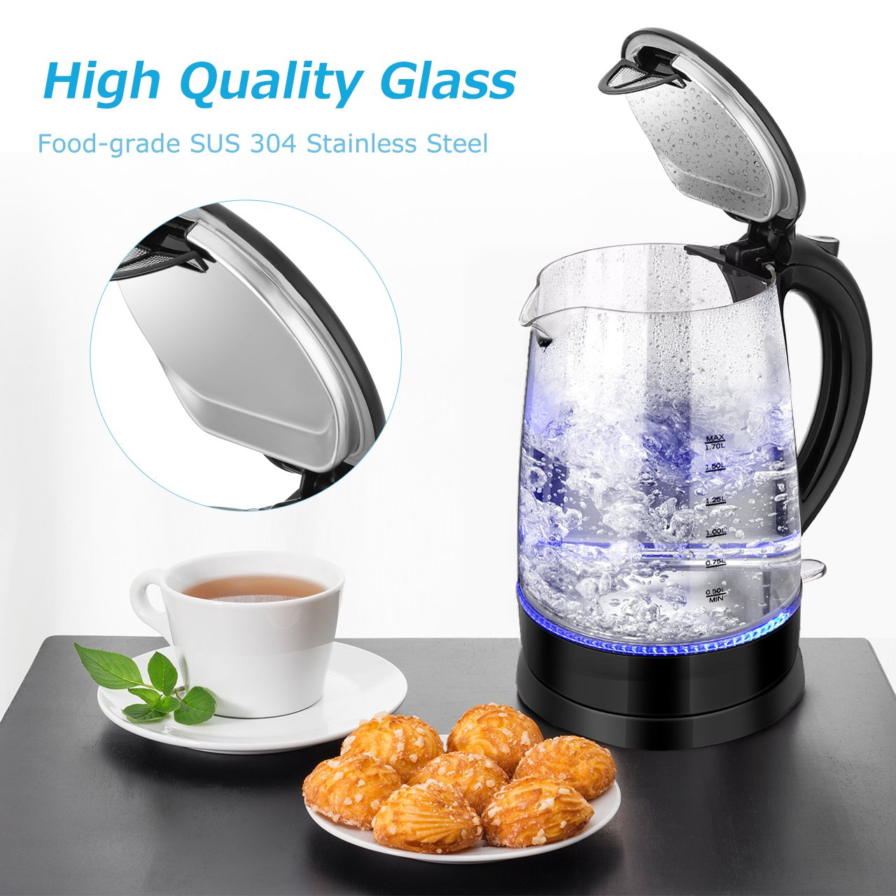 1.7L iKich Glass Kettle Energy Class A+++ BPA free Electric Glass Kettle with Stainless Steel Lid Hot Water Kettle with Blue LED,Cordless Tea Kettle with Auto-off for Tea Make Electric Kettle 1500W A+++