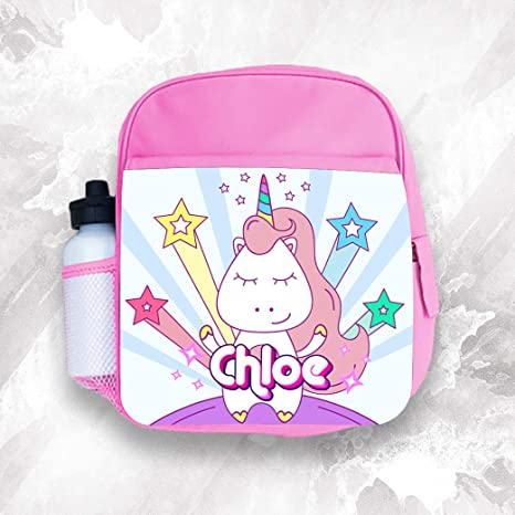 Mochila personalizada para niños con cualquier nombre de unicornio para niñas y niños de vuelta a