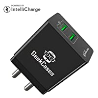 Geekcases Zipcube 2 USB / 3.4A Universal Wall Charger Adapter [3.4A - 17 Watts / Indian Plug / Intellicharge Ic / Over Charge Protection] - Black