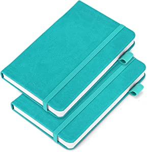 """(2 Pack) Pocket Notebook Notepad,3.5"""" x 5.5"""" Ruled PU Leather Hardcover Small notepads Mini Journal Dairy with 120Gsm Thick Paper, Pen Holder,Inner Pocket,Elastic Closure- Blue"""