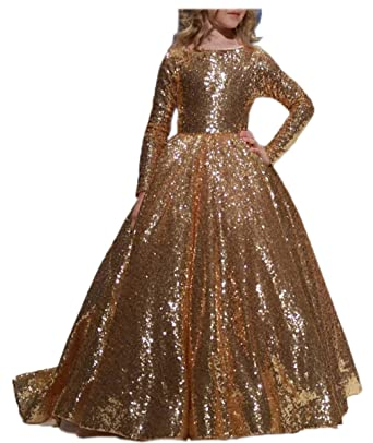 08cf0b46e09 Amazon.com  PEBridal Girls  Gold Sequin Flower Girl Dress Long Sleeve  Communion Gown  Clothing