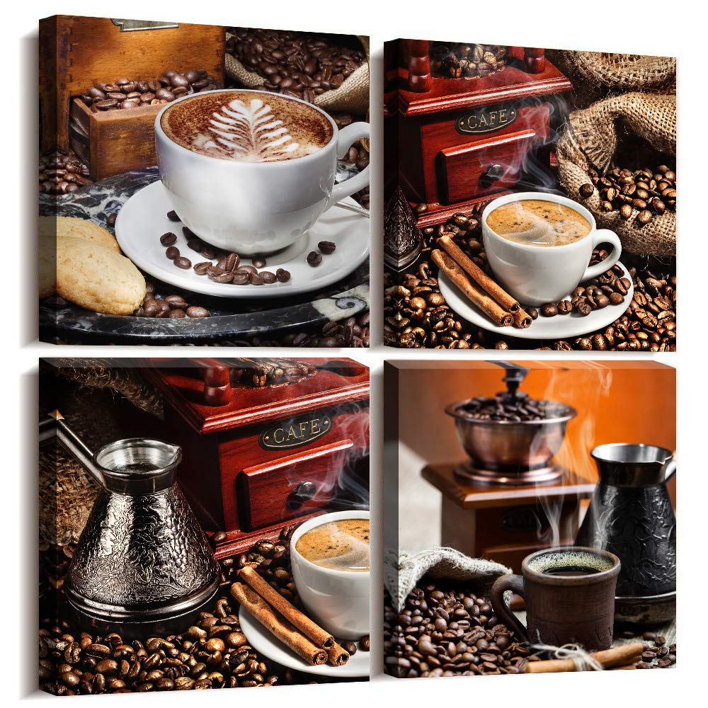 Kitchen Canvas Art Coffee Bean Coffee Cup Canvas Prints Wall Art Decor Restaurant wall art Framed Ready to Hang - 4 Panels Modern Artwork Painting Contemporary Pictures for Dining Home Decoration