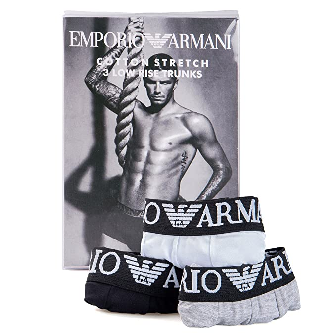 Emporio Armani Boxer Ajustado - Pack de 3 Calzoncillos Para Hombre (M, Black-