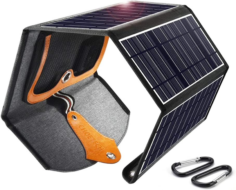 Solar Charger CHOETECH 22W Foldable Solar Panel with Dual USB Ports Waterproof Phone Charger Portable Outdoor Solar Charge for Smartphone Tablet Camera Powerbank and Camping Travel