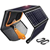 CHOETECH 22W Dual USB Port Solar Panel Charger Solar iPhone Charger Foldable Waterproof Portable Solar Phone Charger for iPhone 11/11 Pro Max/XS/8/7 iPad Galaxy S10/S10+ AirPods Camera and More