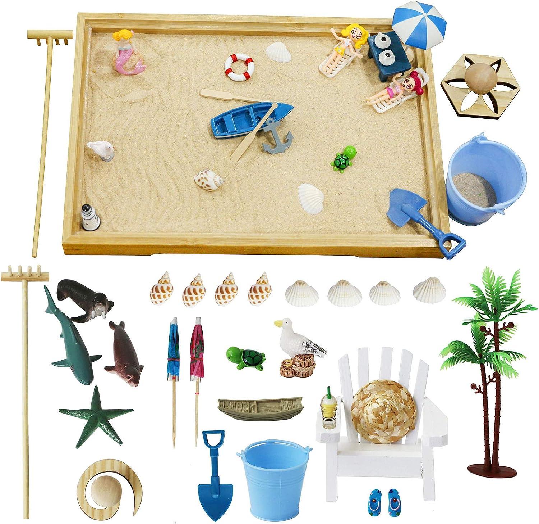 BangBangDa Desktop Beach Zen Garden with Beach Accessories Kit