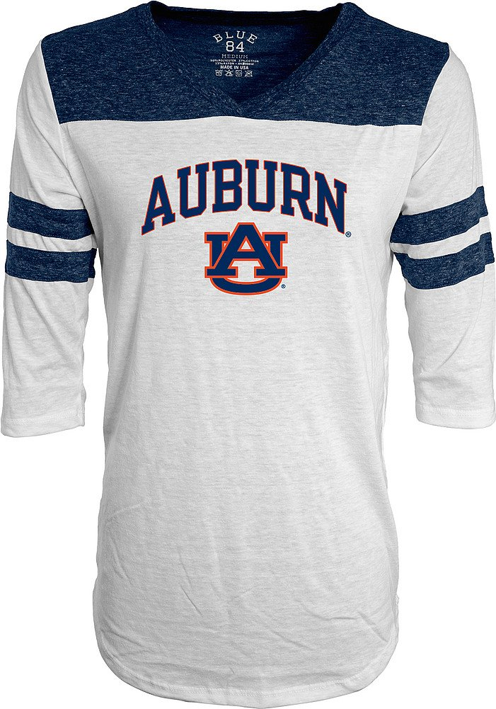 Auburn Tigers White Large Elite Fan Shop NCAA Womens Fashion 3 4 Sleeve Shirt Soft