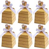 60 Pack Bumble Bee Candy Boxes Treat Boxes Paper Beehive Gift Box with Ribbon for Bee Party Decoration Bee Birthday Baby Show