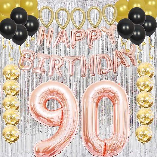 Decoración para fiesta de 90º cumpleaños, oro rosa, globo ...