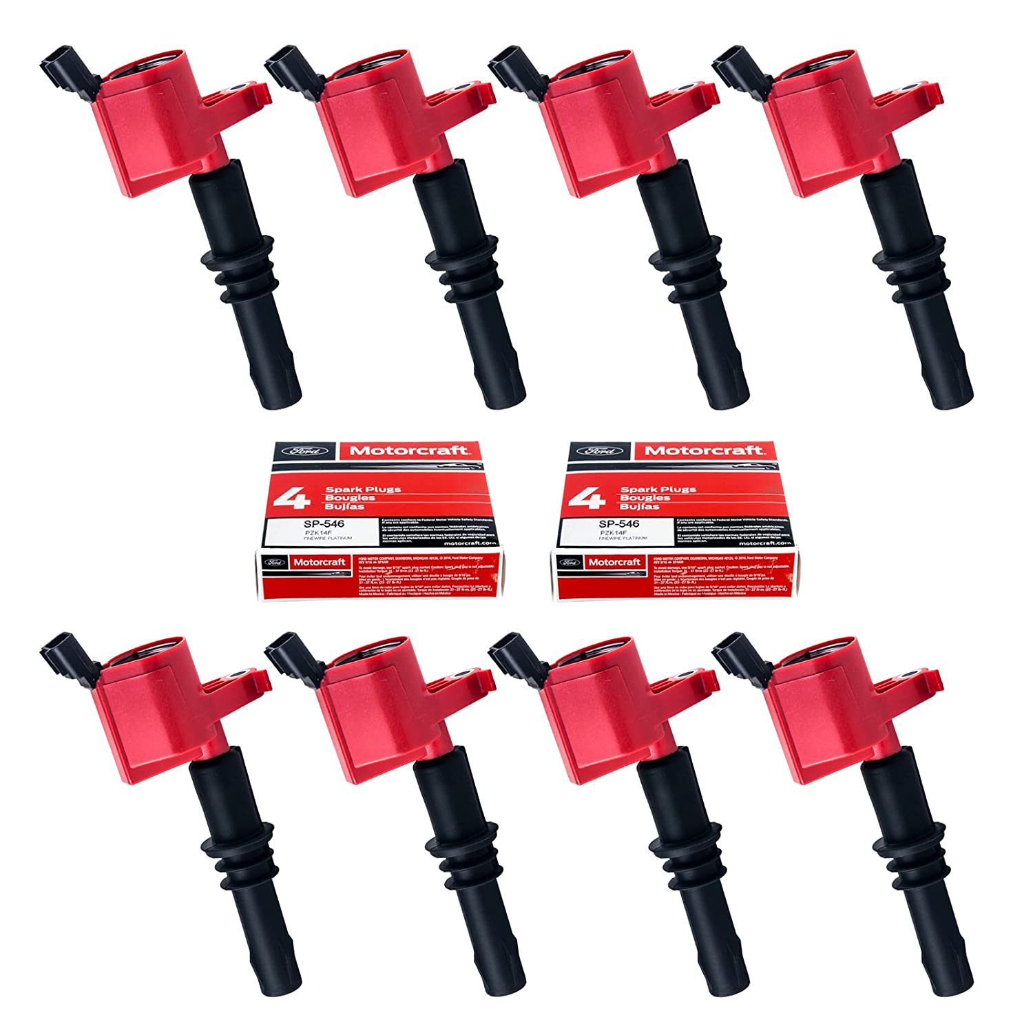 Set of 8 Motorcraft SP515 SP546 Spark Plugs & 8 Red Straight Boot Ignition Coils DG511 for Ford Lincoln Mercury V8 V10 4.6l 5.4l 6.8l Compatible with 3L3E12A366CA 5C1584 C1541 FD-508 DG511 RED DG-511 King Auto Parts