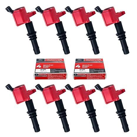 Set de 8 pastillas de SP515 SP546 Bujías y 8 Rojo recto para bobinas de encendido DG511 para Ford ...