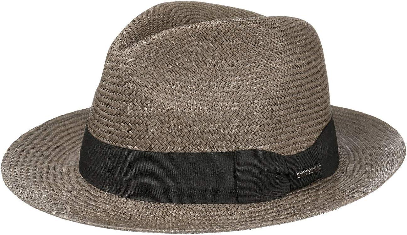Stetson Towson Panama Hat Hombre - Made in Ecuador Sombrero Bogart de Paja Traveller con Banda Grosgrain Primavera/Verano