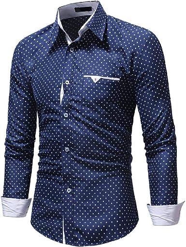 Camisa Estampada de Lunares a Cuadros para Hombre Camisas ...