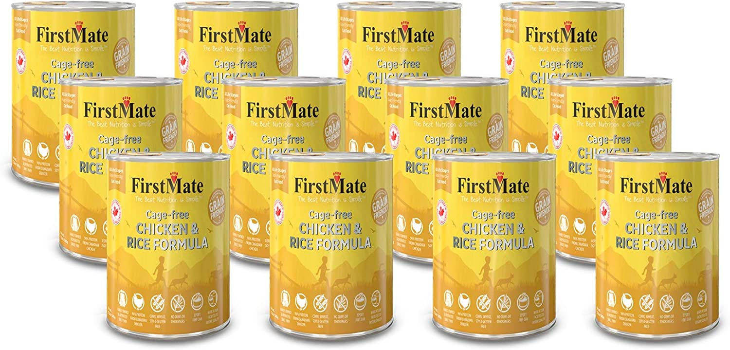 FirstMate 12 Pack of Cage-free Chicken and Rice Canned Cat Food, 12.2 Ounces each, Gluten-Free