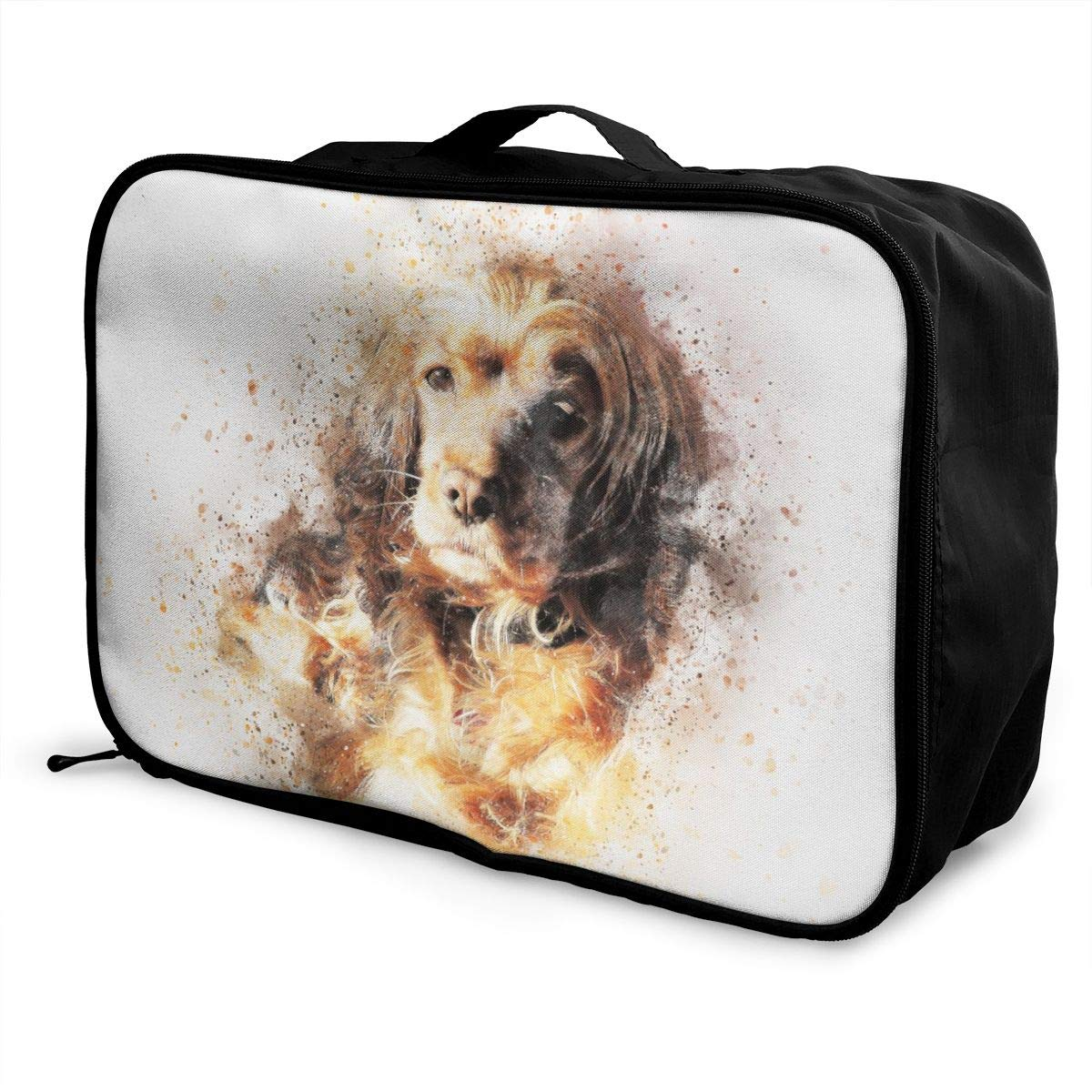 Dog Art Abstract Pet Travel Lightweight Waterproof Foldable Storage Carry Luggage Large Capacity Portable Luggage Bag Duffel Bag