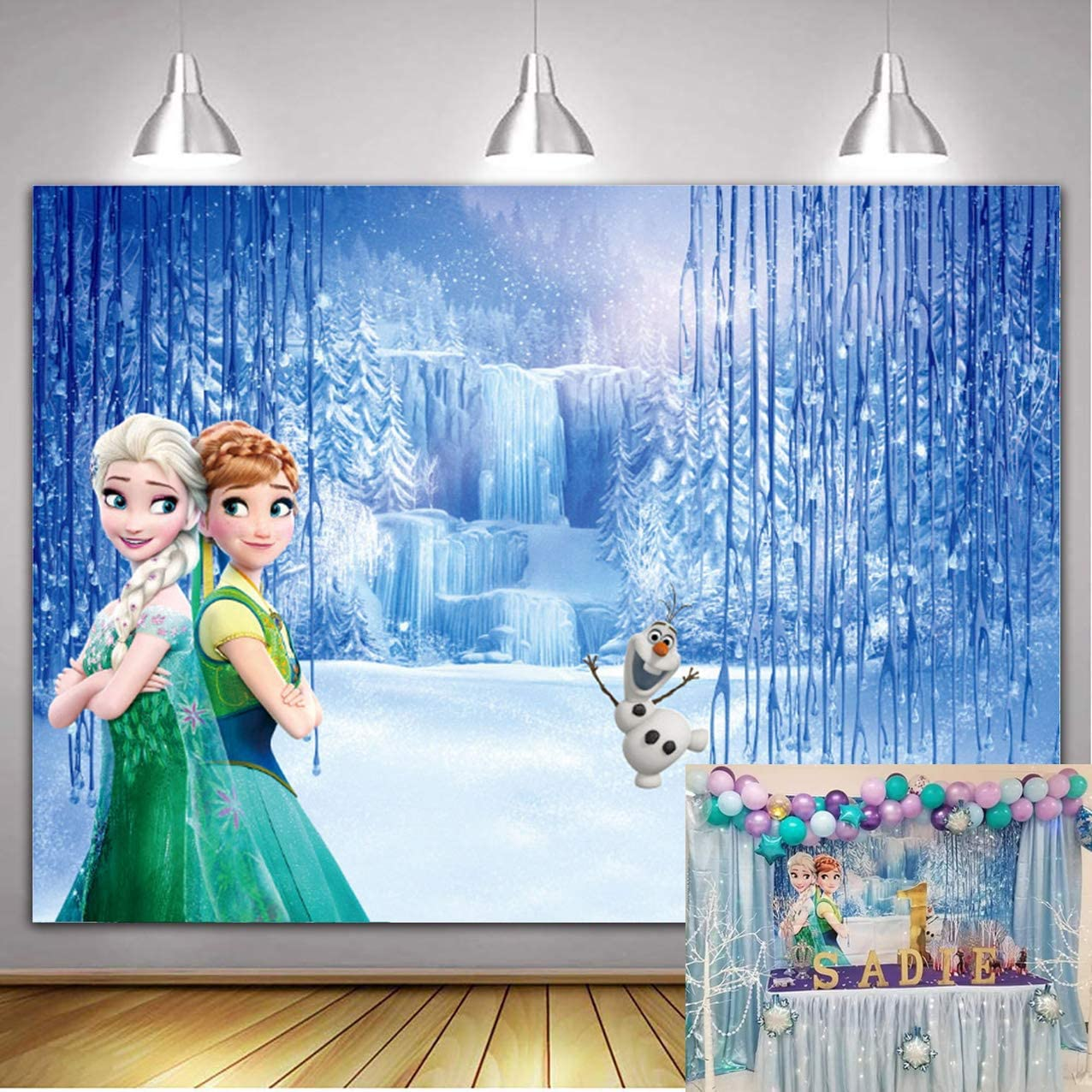 1st Birthday Backdrops for Photography Girl 7x5ft Elsa and Anna Princess Fairytale Frozen Ice Castle Backdrop Baby Shower for Girls Personalized Name Photo Banner Background Tabletop