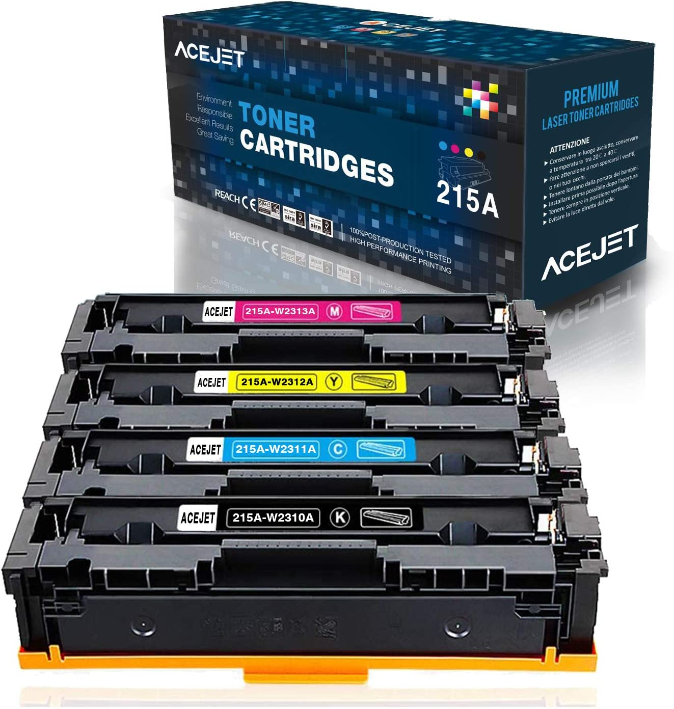 ACEJET Compatible 215A 215X Toner Cartridges Replacement for HP 215A W2310A W2311A W2312A W2313A for HP Color Laserjet Pro MFP M182nw M183fw M155 M183 M182 No Chips(Black Cyan Yellow Magenta, 4-Pack)