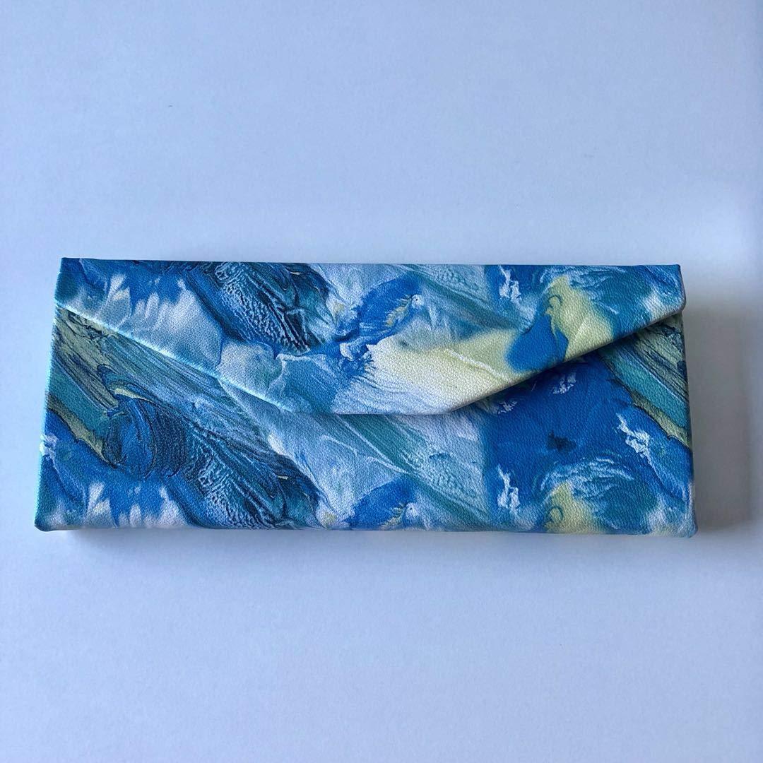 Brillenetui, dreieckig, faltbar, Hartschalen-Etui 16.0x6.5x6.5cm blau Peino