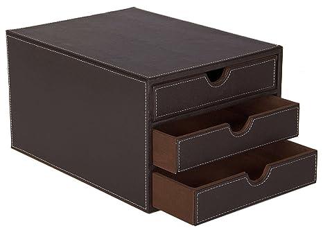 Osco cassettiera in ecopelle con cassetti colore marrone