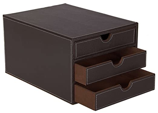 6 opinioni per Osco- Cassettiera in ecopelle con 3 cassetti, colore: Marrone