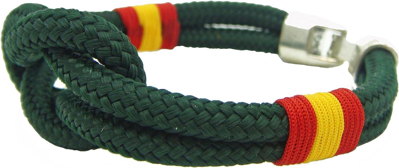 Pi2010 - Pulsera náutica Nudo Llano/Verde/Bandera de España Trenzada/Unisex / 19cm /recomendamos medirse la muñeca para calcular Talla/Hecho a Mano en España/Cierre zamac/Grosor 4mm: Amazon.es: Joyería