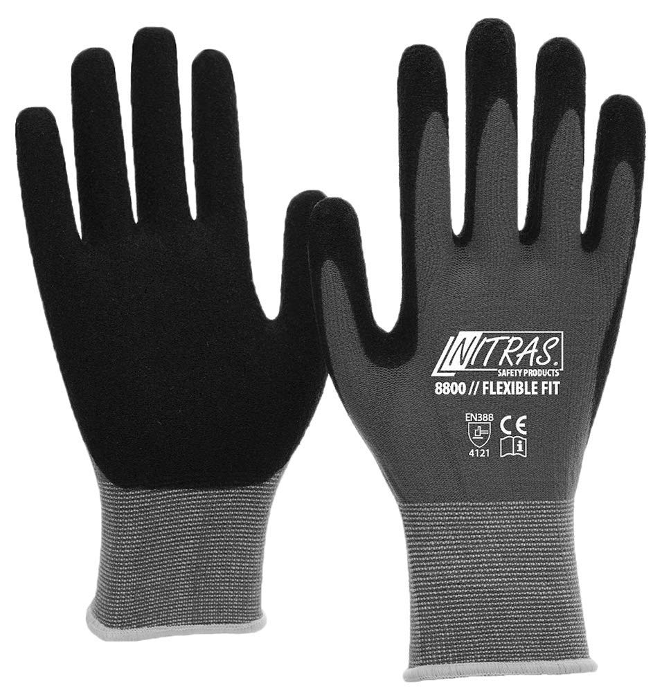 3 Pairs Work gloves Nitras 8800 EN 388 Flexible Fit - Mechanic gloves work gloves Safety gloves Garden gloves Allround gloves - Black / Grey, S