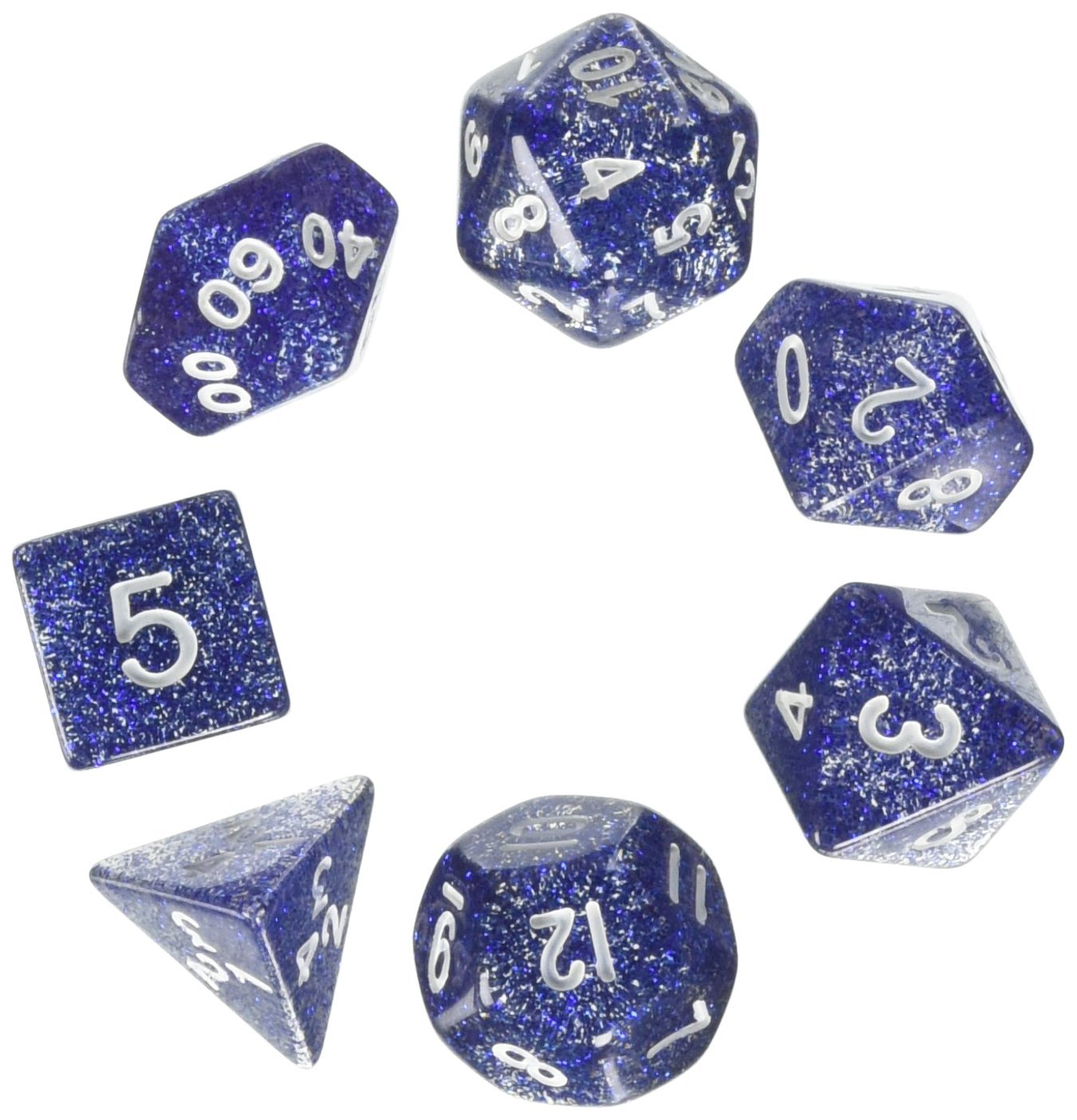 Blue//White Glitter Koplow KPL02875 Polyhedral Dice Set 7-Piece