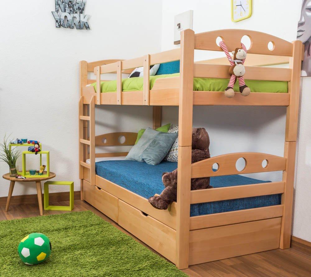 Stockbett mit Bettkasten Easy Sleep K11/n inkl. 2 Schubladen und 2 Abdeckblenden, Kopf- und Fußteil mit Löchern, Buche Vollholz massiv Natur - Maße: 90 x 200 cm, teilbar