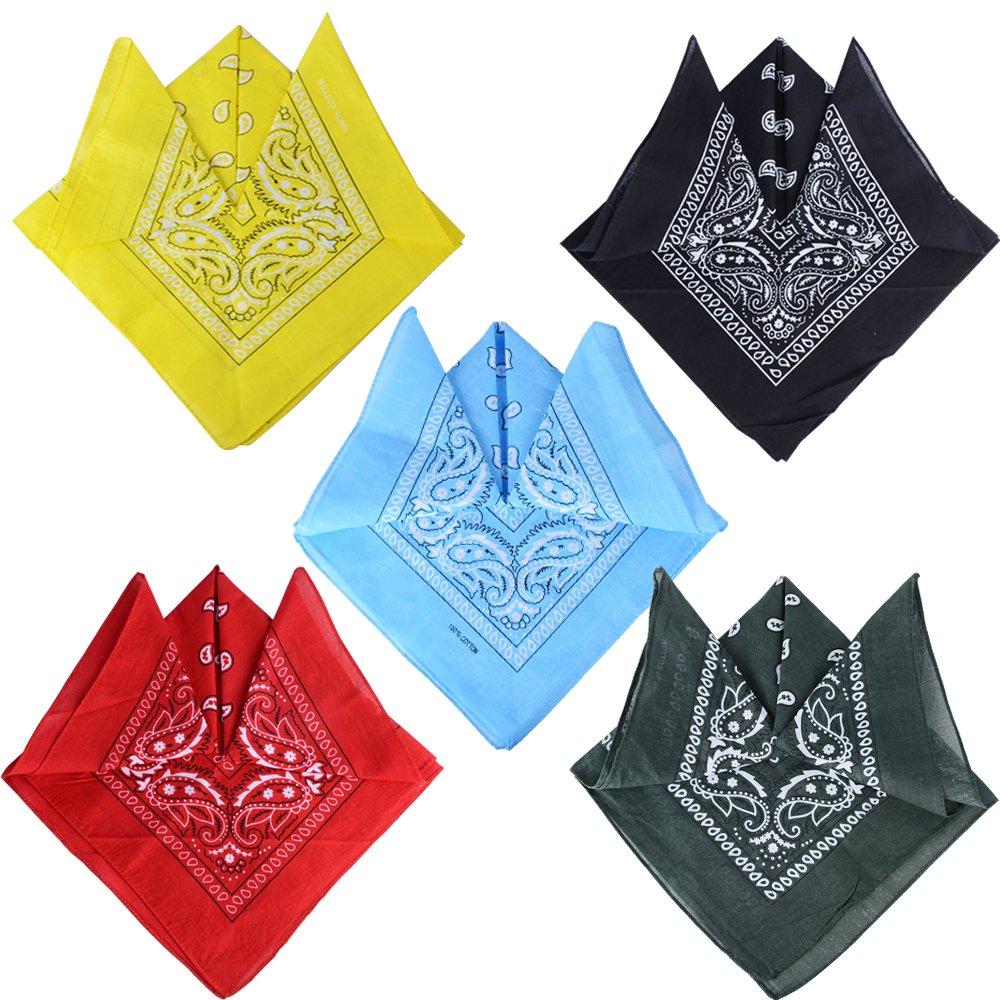 VINFUTUR 5pz Bandane Paisley Pattern Cotone Per Collo/Testa / Caperi/Sciarpa Fazzoletti da Taschino - 4 x 5 colore mix